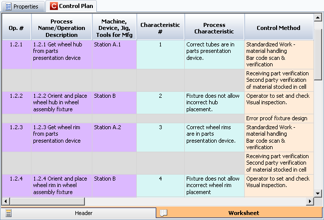 Control Plan Worksheet